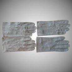 Vintage Men's Gloves Gray Suede Leather 8.5 Or XL Ladies