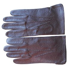 Vintage Men's Gloves Brown Leather M or Women's XL