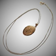 Locket Cross Vintage Gold Filled On Fine Chain Petite 1920s to 1940s
