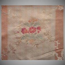 Vintage Fabric Sample High End Flowered Silk Brocade Taffeta Upholstery