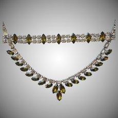 B. David Olivine Olive Clear Rhinestones Necklace Bracelet Set Vintage