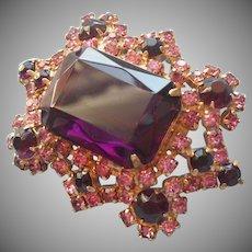 Vintage Pin Pink Purple Rhinestones Big Emerald Cut Purple Glass Stone