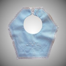 Vintage Baby Bib European Blue Hand Embroidered Lace