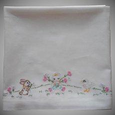 Vintage Crib Sheet Hand Embroidery Baby Girl Bird Bunny