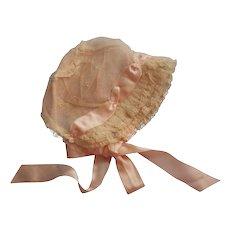 ca 1920 Baby Hat Bonnet Pink Silk Net Lace Ribbons