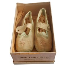 1920s Silk Baby Shoes Pale Aqua Embroidered Vintage
