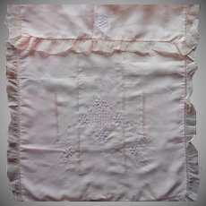 1920s Pink Silk Baby Coverlet Cradle Bassinet Carriage Cover