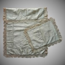 1920s Irish Lace Silk Baby Coverlet Pillow Sham Vintage Hand Embroidery