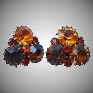 Weiss Earrings Vintage Brown Amber Citrine Color Rhinestones