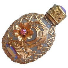 Vintage Perfume Purse Flacon Dabber Filigree AB Stones Ornate