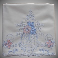 Madeira Pillowcase 1930s Appliqued Hand Embroidered TLC