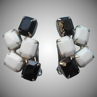 Weiss Earrings Black White Opaque Glass Vintage Signed Dramatic