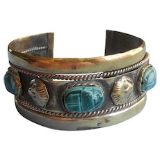 Egyptian Revival Vintage Cuff Bracelet Faience Scarab Beetles Sphinx Heads
