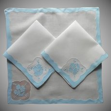 3 Madeira Organdy Napkins Vintage Blue White Appliqued Hand Embroidered