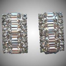 Weiss Earrings Exceptional Rhinestone Bar Shape Vintage