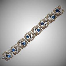 Art Deco Bracelet Vintage 1930s 40s Rhinestones Blue Glass Stones