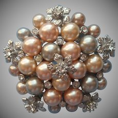 Graziano Faux Pearls Cluster Pin Brooch Champagne Gray Silver Tone