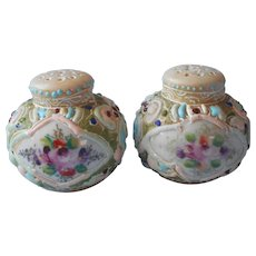 Nippon Moriage Shakers Antique Ornate Hand Painted China