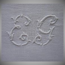 French Napkins Big Monogram E. G. Vintage 1920s 26 x 23 Set 8