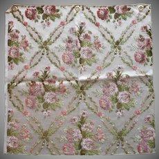 Vintage Fabric Sample High End Cut Velvet Pink Green Roses Upholstery