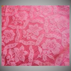 Vintage Fabric Sample High End Raspberry Pink Damask Upholstery