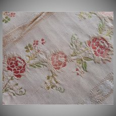 Vintage Fabric Sample High End Cotton Brocade Roses Salmon Green Upholstery