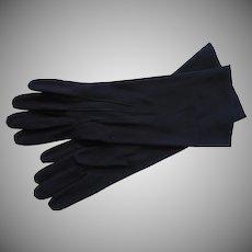 Vintage French Gloves Midnight Blue Leather 7 Kislav France