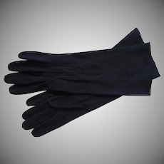 Vintage French Gloves Midnight Blue Leather 7 Kislav France