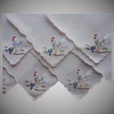 Cocktail Napkins Vintage Hand Embroidered Colorful Roosters