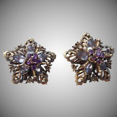 Coro Lavender Purple Stones Earrings Vintage Antiqued Gold Finish
