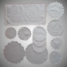 Antique Doilies All White Work Embroidery Linen Cotton Some TLC