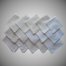 Tea Napkins Vintage 1910s to 1940s Linen Hand Embroidered All TLC