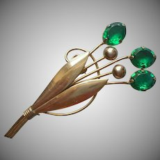 1940s Gold Filled Pin Vintage Emerald Green Glass Stones Floral Spray