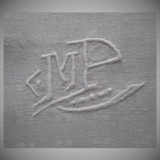 French Monogram M. P. Big Heavy Damask Napkins Vintage