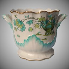 Mottahedeh Cachepot Vintage Italy Faience Aqua Green China Pottery