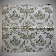 Vintage Fabric Sample High End Brocade Toile Green Upholstery