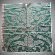 Vintage Fabric Sample High End Silk Damask Green Upholstery