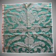 Vintage Fabric Sample High End Silk Damask Green Upholstery