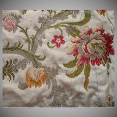 Vintage Fabric Sample High End Silk Brocade Real Copper Metal Upholstery