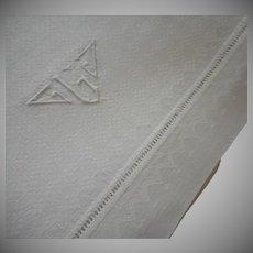 Monogram L Towel Vintage 1920s Linen Damask