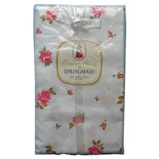 1960s Pillowcases Pink Roses Unused Cotton Springmaid Printed