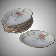 Nippon Salt Nut Butter Pat Dishes Set 6 Antique Hand Painted China