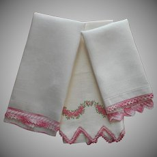 ca 1920 Towels Pink Trim All Vintage Crocheted Lace and Hand Embroidery