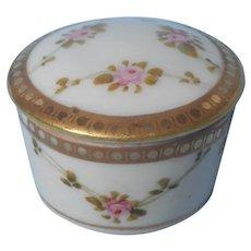 Nippon Ring Box Jar Vanity Antique China Pink Roses Gold