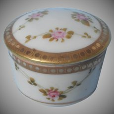 Nippon Ring Box Jar Vanity Antique China Pink Roses Gold
