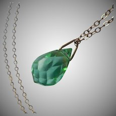 1920s Briolette Necklace Vintage Green Faceted Crystal Gold Filled Chain