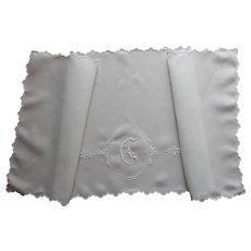 Monogram G Antique Linen Runner White Work Hand Embroidery TLC