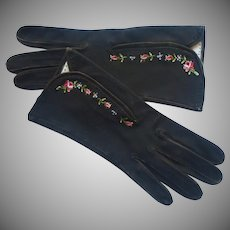 French Gloves Hand Beauvais Embroidered Roses Leather Vintage
