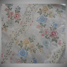Vintage Fabric Sample High End Cotton Silk Brocade Pink Blue Upholstery