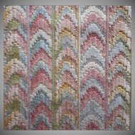 Vintage Fabric Sample High End Cut Velvet Bargello Flame Effect Pink Blue Upholstery